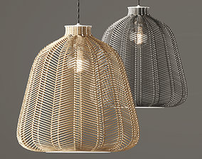 3D model Natural and Grey Chevron Rattan Shade
