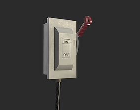 3D model Electric Main Switchbox With On Off Lever and 2