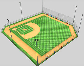 3D asset Baseball stadium pitch diamond low poly