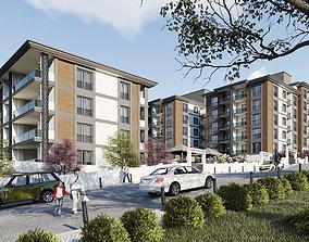Luxury Residential Blocks High Quality Exterior 3D asset 2