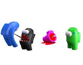 among us characters set 3D asset