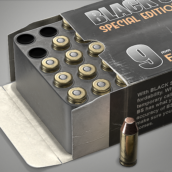 Handgun ammo box cartridge