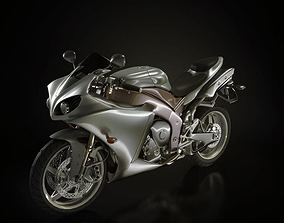 Silver Sport Motorcycle 3D