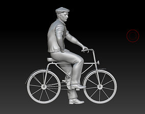 3D print model man on a bicycle