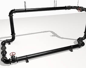 Modular pipes pack 4 3D asset
