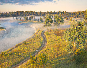 3D nature Assembled scene - Morning on the river