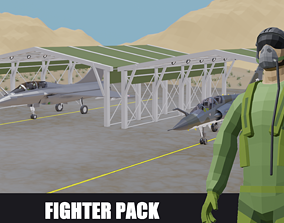 3D asset realtime Fighter Jet French low poly pack