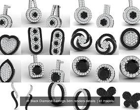 41 Black Diamond Earrings 3dm renders details