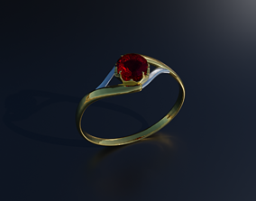 3D model game-ready Ruby Ring