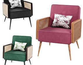 Arm Chair- Rattan cane velvet 3 color 3D solid