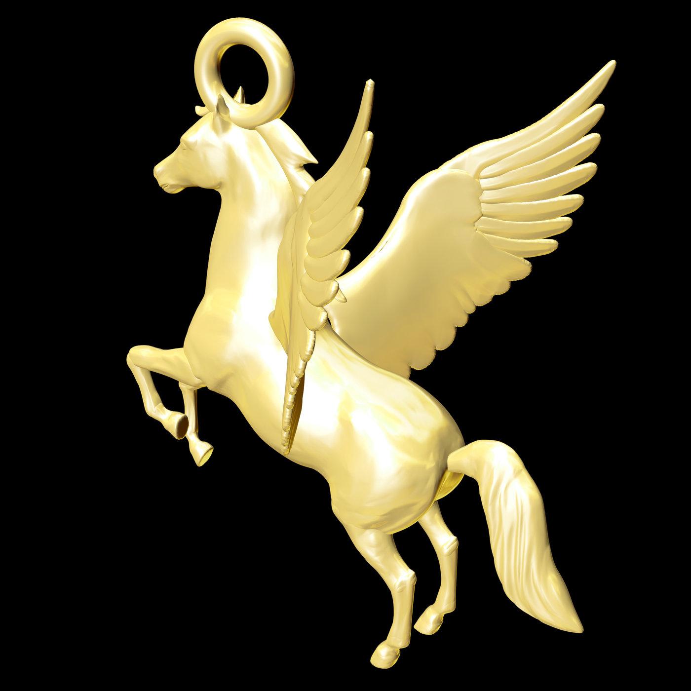 Pegasus Horse Sculpture- Pendant jewelry Gold 3D print model