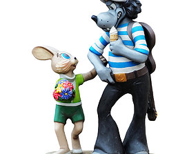 Sculpture of the characters Wolf and the Hare 3D