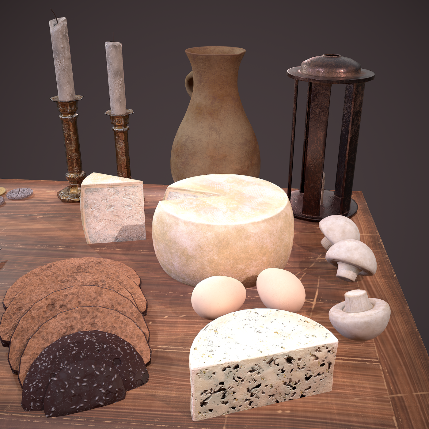 Medieval Tavern Dinner Scene 3D Models Collection.