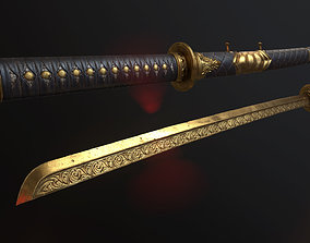 3D model Golden Sword PBR Game-Ready