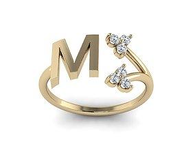 Jewelry Alphabet Ring M with Diamonds 3D print model