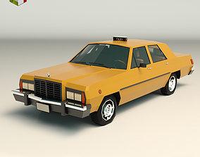 Low Poly Taxi Cab 02 3D asset