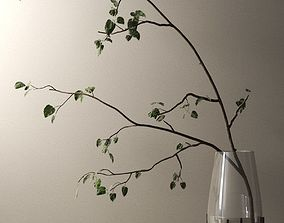 Echasse Vase with Branch 3D simple