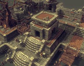 Low Poly Mayan Temple Starter Set 3D asset