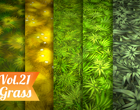 Stylized Grass Vol 21 - Hand Painted Texture 3D model