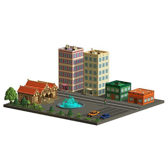 Voxel City - Low Poly