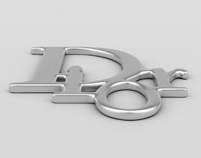 earring 3D model Dior Logo