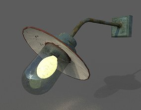 Old Rusted Outdoor Wall Lamp 3D asset
