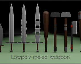 3D model Lowpoly melee weapon pack