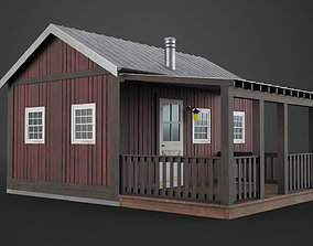 Scandinavian Mountain House Low Poly Game Ready 3D model