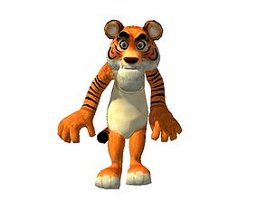 animated low-poly Cartoon Tiger 3D