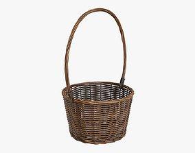 Wicker basket with long handle dark brown 3D model