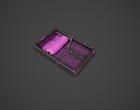 Paint Roller and Tray - Pink Paint 3D model