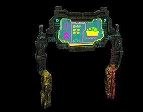 3D asset Low poly cyberpunk banner with pillars