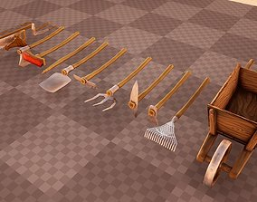 Lowpoly Farming Tools - Handpainted Textures in 3D model 2
