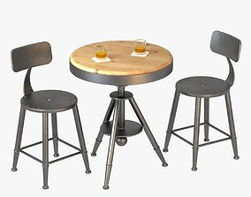 3D Loft Style Bar Chairs and Table