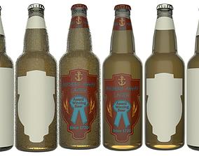 3D model Beer Bottle with Beer and Condensation v06