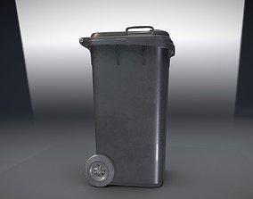 3D model Black Plastic Waste Bin 240 Liters 1075x515x582