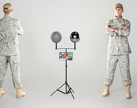 3D asset Young American soldier in uniform posing 161