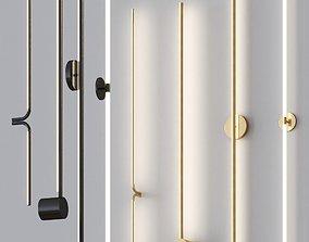 Minimalistic thin Wall lamps set 3D model