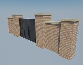 brick wall gate 3D model