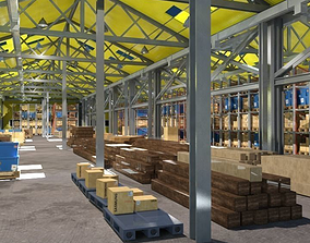 Warehouse interior and exterior whit props 3D