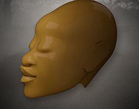 African Woman Head Sculpture 3D model
