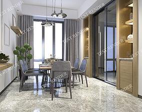 3D model modern dining room near decor shelf