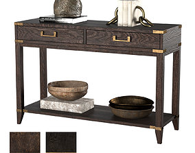 3D CAYDEN CAMPAIGN 2-DRAWER CONSOLE TABLE dark