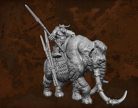 Fantasy Mammoth and Giant Rider Miniature 3D print model