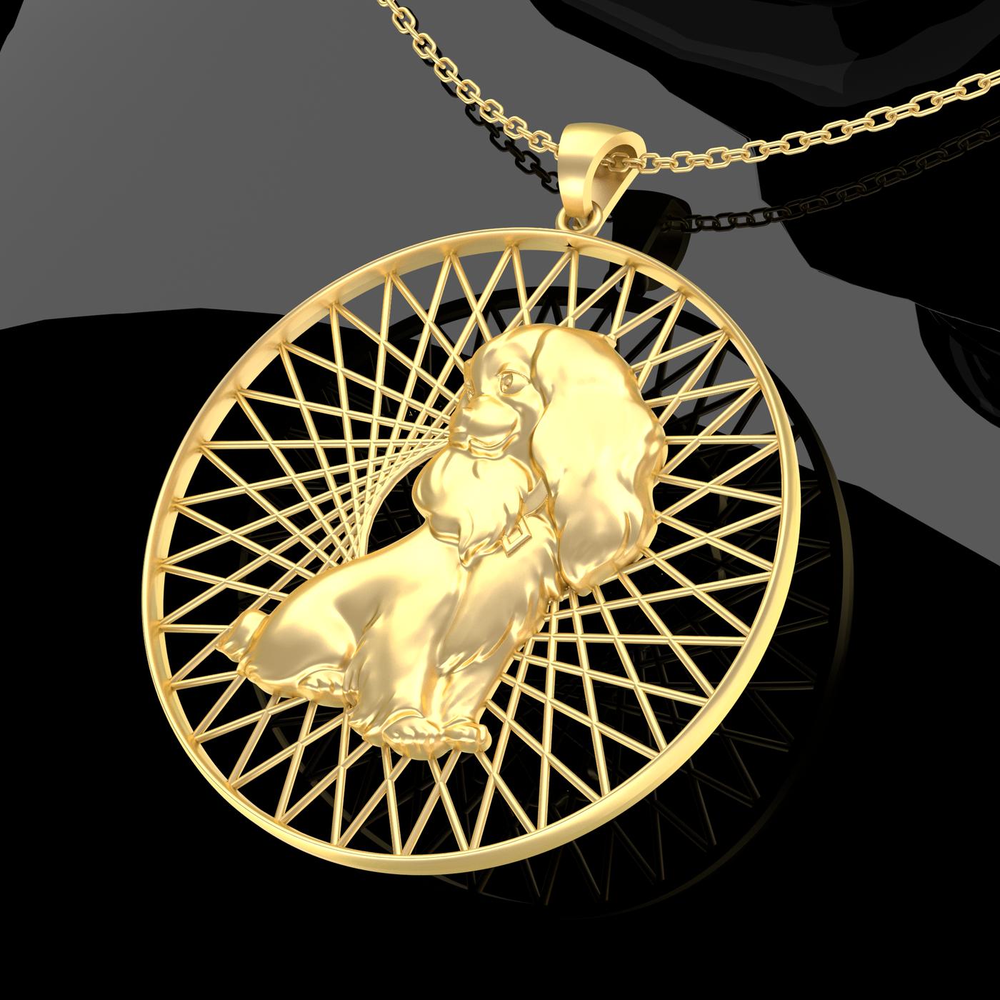 Cartoon Dog Pendant jewelry Gold 3D print model