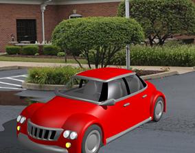3D asset A Red Toon Car