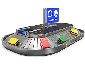 3D Airport Claim Transporter with Baggage