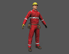 3D model VR / AR ready Offshore Worker Low Poly