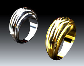 Unisex-Rings with Wavy Design for Everyday 3D print model