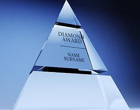 3D asset Trophy award cup low poly